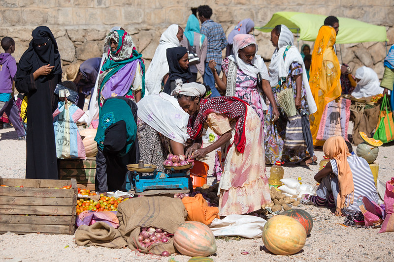 Shoppers at the monday market in the town of Keren in northern Eritrea.