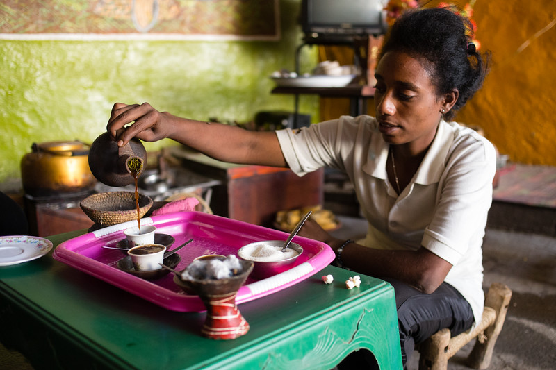 Preparing coffee at a traditional coffee ceremony in the town of Keren in northern Eritrea.