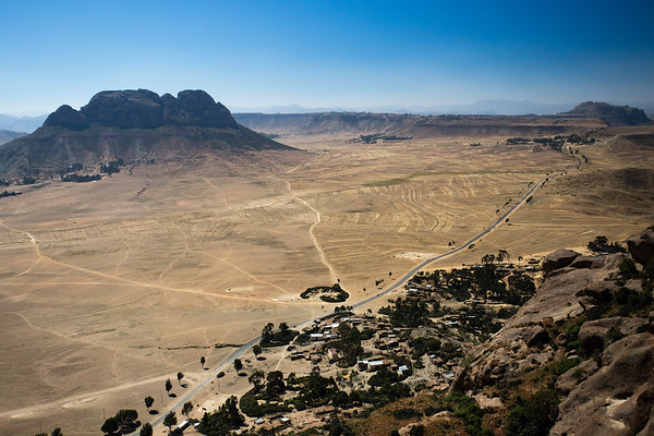 Looking down to the town of Senefe from the Metera religious site in southern Eritrea.