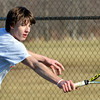 WARREN DILLAWAY / Star Beacon<br /> LEE MILLER, of Edgewood,  returns a shot during a first singles match with Struthers on Monday in Ashtabula Township.