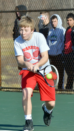 WARREN DILLAWAY / Star Beacon<br /> JAMES KULKO, of Edgewood,  returns a shot during a second singles match with Struthers on Monday in Ashtabula Township.