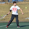 WARREN DILLAWAY / Star Beacon<br /> KEVIN MAURER, of Edgewood,  returns a shot during a third singles match with Struthers on Monday in Ashtabula Township.