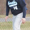 WARREN DILLAWAY / Star Beacon<br /> BILL SCHMIDT, St. John baseball coach, makes his point clear on Tuesday during a game with Hearts for Jesus Christ at Smith Field in Ashtabula.