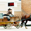WARREN DILLAWAY / Star Beacon<br /> AN AMISH man navigates Andover Square with his horse on Friday afternoon.
