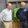 WARREN DILLAWAY / Star Beacon<br /> CONGRESSMAN DAVID JOYCE (left) talks with Lake Erie Ship Repair and Fabrication President Joseph Craine during an opening celebration for the company's fabrication facility on  East 21st Street in Ashtabula on Monday morning.