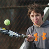 WARREN DILLAWAY / Star Beacon<br /> DAVID SANTEE of Edgewood returns a shot during first doubles action against Grand River Academy on Mondayin Ashtabula Township.