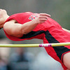 WARREN DILLAWAY / Star Beacon<br /> LUCAS HITCHCOCK of Jefferson competes in the high jump during a home meet Tuesday with Girard and Champion.