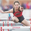 WARREN DILLAWAY / Star Beacon<br /> KAYDEE DEVIVO of Jefferson competes in the 100 meter hurdles on Tuesday during a home meet with Girard and Champion.