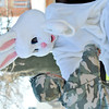 WARREN DILLAWAY / Star Beacon<br /> MICHAEL CARRUTHERS, 6, of Ashtabula runs to hug the Easter bunny during the Eggstravaganza event sponsored by the Ashtabula Downtown Development Association on Saturday at Lance Corporal Kevin Cornelius Park.