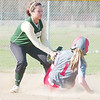 WARREN DILLAWAY / Star Beacon<br /> DEANGELA OLAVARRIA (left) of Lakeide applies a late tag to Geneva base runner Amy Pitcher on Monday afternoon at Geneva.