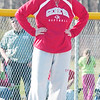 WARREN DILLAWAY / Star Beacon<br /> ELEISHA PITCHER, Geneva softall coach, watches the action from the third base coaching box on Monday during a home game with Lakeside.
