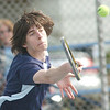 WARREN DILLAWAY / Star Beacon<br /> MATT PINELLI of St. John returns a shot during first singles action with Scott Gerdes of Conneaut Tuesday at Topky Courts in Ashtabula.