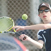 WARREN DILLAWAY / Star Beacon<br /> SCOTT GERDES of Conneaut prepares to return a shot during first singles action with Matt Pinelli of St. John on Tuesday at Topky Courts in Ashtabula.