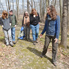 KAREN ADAIR, Central Lak Erie Watershed Project Manger for the Nature Conservancy, leads (from left) Emily, Randy and Carol Jones and Kay Amey on a hike at Morgan Swamp on Saturday afternoon.  The hike was  part of the inaugural Ashtabula County Scenic Rivers Pilgrimmage held Saturday at various locations throughout the county.