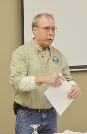WARREN DILLAWAY / Star Beacon<br /> MIKE WAYMAN, president of the Ashtabula Townshp Park Board of Commissioners, addresses guests at the inaugural Ashtabula County Scenic Rivers Pilgrimmage on Saturday at the Lodge at Geneva-on-the-Lake.