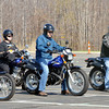 WARREN DILLAWAY / Star Beacon<br /> JERRY RETKOFSKY (far right) teaches a basic rider class for Motorcycle Ohio on Saturday at Lakeside High School parking lot.