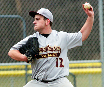 WARREN DILLAWAY / Star Beacon HUNTER RHOADES of Pymatuning Valley pitches on Monday during a home game with Grand Valley.