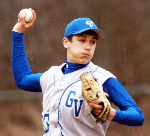 WARREN DILLAWAY /Star Beacon<br /> JAKE REICHEK of Grand Valley pitches on Monday during a game at Pymatuning Valley.