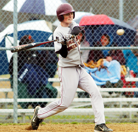 WARREN DILLAWAY / Star Beacon<br /> JACKSON BOGARDUS of Pymatuning Valley knocks in two runs on Monday during a home game with Grand Valley.