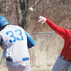 WARREN DILLAWAY / Star Beacon<br /> ALEX NEWSOME (14) of Edgewood forces Stanley Sirrine at second base and fires to first on Tuesday at Edgewood.