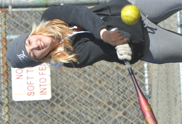WARREN DILLAWAY / Star Beacon<br /> TAYLOR FETTERS of Ashtabula works on her hitting at Cederquist Park in Ashtabula on Saturday afternoon.
