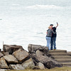 WARREN DILLAWAY / Star Beacon<br /> CHRISTINA HILL (left) of Ashtabula and Tabita Luikart of Cincinnati take a selfie photograph at Lake Shore Park in Ashtabula Township  on Monday morning.