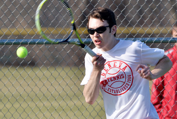 WARREN DILLAWAY / Star Beacon<br /> BRENT MCFARLAND of Geneva prepares to return a shot during a home second singles match against Willoughby South on Tuesday.