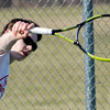 WARREN DILLAWAY / Star Beacon<br /> BRENT MCFARLAND of Geneva returns a shot during a home second singles match against Willoughby South on Tuesday.