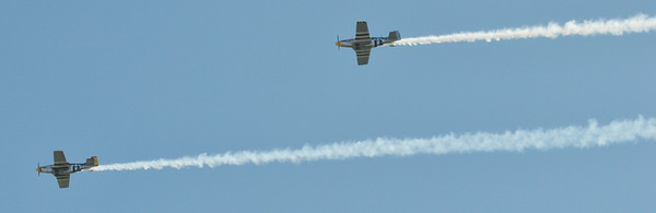 WARREN DILLAWAY / Star Beacon<br /> PLANES CONDUCT a fly over during a Purple Heart Dedication Service on Friday afternoon at the Ashtabula County Fair in Jefferson.