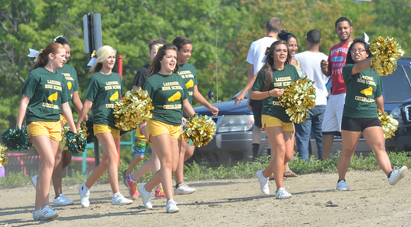 WARREN DILLAWAY / Star Beacon<br /> LAKESIDE CHEERLEADERS cheer on the Dragons on Monday during the War on the Shore at Lake Shore Park in Ashtabula Township.