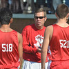 WARREN DILLAWAY / Star Beacon<br /> STEVE HILL, Edgewood cross country coach, talks to his team prior to the War on the Shore on Mondayy at Lake Shore Park in Ashtabula Township.