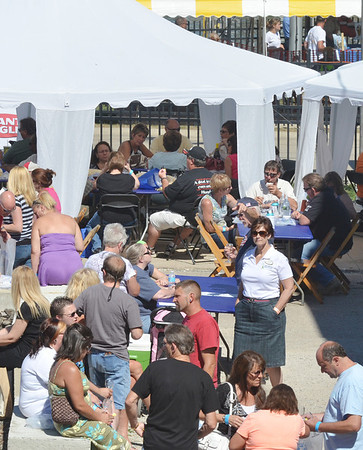 WARREN DILLAWAY / Star Beacon<br /> A LARGE wine testing area has been created for the two day Wine and Walleye Festival in Ashtabula Harbor.