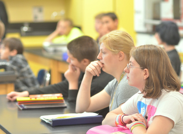 WARREN DILLAWAY / Star Beacon<br /> PYMATUNING VALLEY Middle School students listen to instruction during the first day of school on Monday.