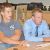 WARREN DILLAWAY / Star Beacon<br /> NATE SCHICK (right) works with Jake Naro during a A-Tech sponsored interactive multimedia class during the first day of school at Grand Valley High School on Monday.