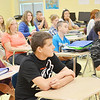 WARREN DILLAWAY / Star Beacon<br /> PYMATUNING VALLEY sixth graders listen during the first day of class on Monday.