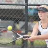 WARREN DILLAWAY / Star Beacon<br /> GABBY NOVAK of Lakeside returns a shot during a  third singles match at Jefferson on Tuesday afternoon.