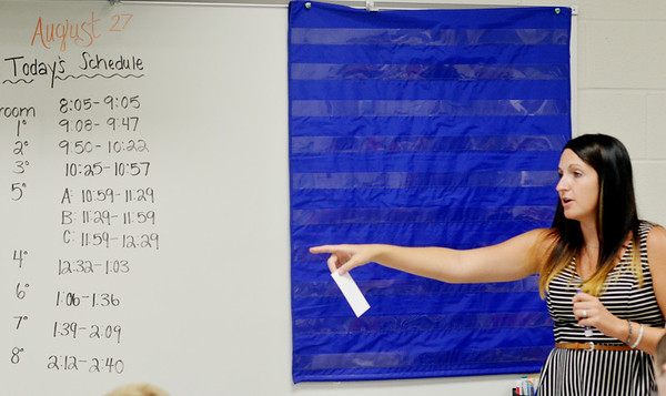 WARREN DILLAWAY / Star Beacon<br /> EMILY  PETRICK, a seventh grade teacher at Conneaut Middle School, explains the daily schedule during the first day of school on Tuesday.