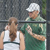 WARREN DILLAWAY / Star Beacon<br /> LAKESIDE TENNIS coach Bob Walters talks with Kayla Johnston during a tennis match at Jefferson on Tuesday afternoon.