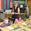 WARREN DILLAWAY / Star Beacon<br /> TERRI SANTEE, a first grade teacher at Kingsville Elementary School, keeps an eye on her students during the first day of class.