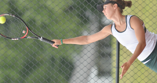 WARREN DILLAWAY / Star Beacon<br /> KATIE ALLAN of Lakeside serves during a first singles match at Jefferson on Tuesday afternoon.