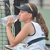 WARREN DILLAWAY / Star Beacon<br /> KAYLA JOHNSTON of Lakeside takes a water break during a second singles tennis match at Jefferson.