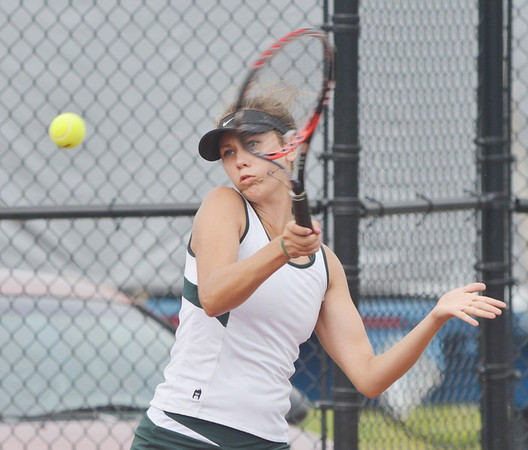 WARREN DILLAWAY / Star Beacon<br /> KATIE ALLAN of Lakeside follows through on a return shot during a first singles match at Jefferson on Tuesday afternoon.