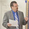 WARREN DILLAWAY / Star Beacon<br /> JIM PELYHES, a sixth grade teacher at Erie Primary School, talks to his students on Tuesday during the first day of school in the Ashtabula Area School District.