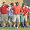 WARREN DILLAWAY / Star Beacon<br /> TONY HASSETT (center), Geneva football coach, reacts on Friday during a game at Edgewood.
