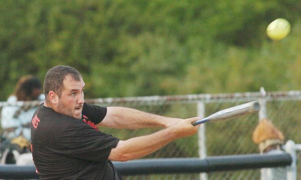 WARREN DILLAWAY / Star Beacon<br /> STEVE JONES of Meade's Auto hits on Monday during Ashtabula Recreation Softball League action at Massucci Field in Ashtabula.