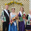 WARREN DILLAWAY / Star Beacon<br /> THE ASHTABULA County Fair royalty include (from left) Austin Gruskiewicz, 13, of Kinsman (prince); Craig Butler, 18, of Denmark Township (king); Ellen Darby, 18, of Jefferson (queen); Lindsey Varckette, 18, of Geneva, (queen first runner-up) and Hollie Dalton, 14, of Ashtabula (princess).