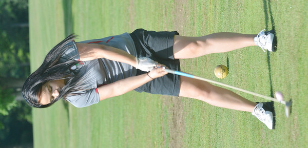 WARREN DILLAWAY / Star Beacon<br /> EMILY PETRO of Geneva hits the ball on Tuesday during the Karl Pearson Invitational at Maple Ridge Golf Course in Saybrook Township .