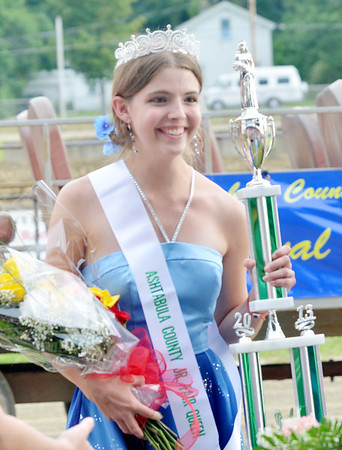 WARREN DILLAWAY / Star Beacon<br /> ELLEN DARBY, 18, of Jefferson, was crowned Ashtabula County Fair Queen on Tuesday evening at the fairgrounds in Jefferson.