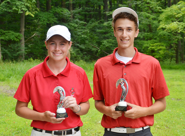 WARREN DILLAWAY / Star Beacon<br /> DANIELLE NICHOLSON of Geneva (left) and C.J. Bagdonas of Perry were the girls and boys medalists on Tuesday during the Karl Pearson Invitational at Maple Ridge Golf Course in Saybrook Township.