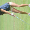 WARREN DILLAWAY / Star Beacon<br /> LAUREN KARDOHELY of Conneaut takes a drop  on Tuesday during the Karl Pearson Invitational at Maple Ridge Golf Course in Saybrook Township.